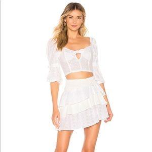 For Love & Lemons Bora Bora Ruffled Mini-Skirt